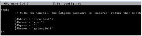 metasploitable database error